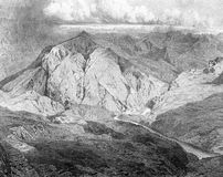 The Dagestan mountains. Illustration for the Emperor Nicholas 1. Paris 1841 Royalty Free Stock Photography