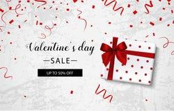 Dagförsäljning för valentin s Konkret bakgrund med gåvaasken och konfettier vektor Royaltyfria Foton