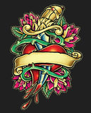 Dagger Heart Tattoo stock illustration