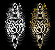 Dagger with rose design. A tatto style design dagger stabbing a rose Royalty Free Stock Images