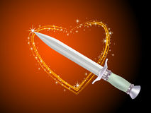 Dagger and shiny heart Stock Photo