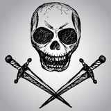Daggers and a skull, hand drawing Royalty Free Stock Photo