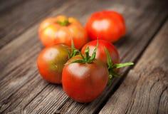 Daggiga röda tomater på det lantliga träbrädet Arkivfoton