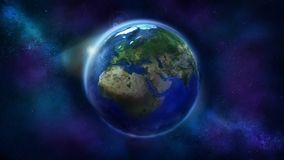 Daghalvan av jorden fr?n utrymme som visar Afrika, Europa och Asien royaltyfria bilder