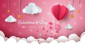 Dagillustration för valentin s Luftballong, moln, stjärna arkivfoton