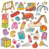 Dagisleksaker och utrustningklotterupps?ttning royaltyfri illustrationer
