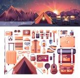 Daglandskap, berg, soluppgång, lopp som fotvandrar, natur, tält, lägereld som campar, sportutrustning för utomhus- Royaltyfri Fotografi