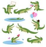 Daglig aktivitetsuppsättning för krokodil Tecknad filmrovdjur Arkivbilder