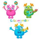 Daglig ferie Gullig uppsättning för vektor för monstermusikspelare Lyckatecknad filmmaskot Monster med gitarren, trumpet, Maracas royaltyfri illustrationer