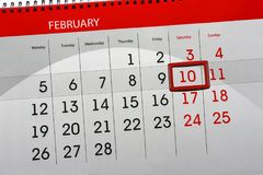 Daglig månad isolerad kalenderScheduler 2018 Februari 10 Arkivbilder