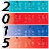 Daglig månatlig färgrik kalender för år 2015 Royaltyfria Bilder