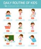 Daglig rutin, daglig rutin av lyckliga ungar Infographic beståndsdel Vård- och hygien, dagliga rutiner för ungar, vektorillustrat stock illustrationer