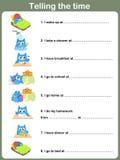 Daglig rutinarbetssedel - Berätta tiden stock illustrationer
