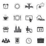 Daglig rutinmässig symbolsuppsättning för aktivitet Arkivfoton
