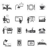 Daglig rutinmässig symbolsuppsättning för aktivitet Arkivfoto