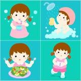 Daglig sund rutin för flickatecknad film vektor illustrationer