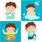 Daglig sund rutin för pojketecknad film royaltyfri illustrationer