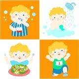 Daglig sund rutin för pojketecknad film stock illustrationer