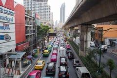 Daglig trafikstockning i Bangkok Royaltyfri Fotografi