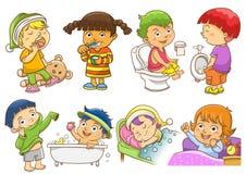 Dagliga aktiviteter stock illustrationer