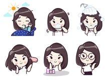 Dagliga rutiner av flickor varje dag royaltyfri illustrationer