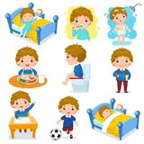 Dagliga rutinmässiga aktiviteter för ungar med den gulliga pojken stock illustrationer