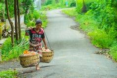Dagligt behov för indonesisk gatuförsäljareförsäljning royaltyfria foton