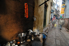 Dagligt liv av Varanasi folk Arkivbilder