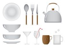 Dagligt objekt av kök och att äta middag utrustninguppsättningen royaltyfri foto