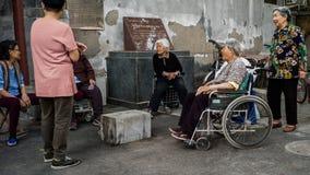 Dagligt prata i Peking i city, Kina Royaltyfri Foto