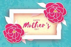 dagmamma s Rosa blom- hälsningkort Blomma för papperssnittpion Rektangelram Dag för origamikvinna` s text royaltyfri illustrationer