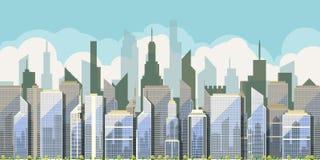 Dagmening van de stad met wolkenkrabbers stock illustratie