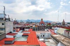 Dagmening van zocalo van Mexico-City van daken Stock Fotografie