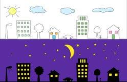 dagnatt Royaltyfri Illustrationer