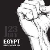 Dagrevolution i Egypten Juli 23rd Nationell självständighetsdagen i Afrika Hand som gripas hårt om i näve på svart bakgrund Hand royaltyfri illustrationer