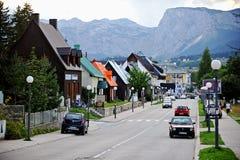 Dagscène in bergstad van Zabljak Royalty-vrije Stock Fotografie