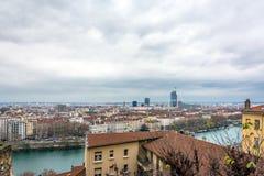 Dagsikt av centret i Lyon, Frankrike Arkivbild