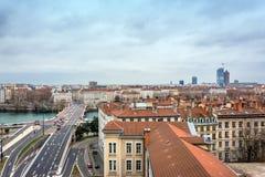 Dagsikt av centret i Lyon, Frankrike Royaltyfria Bilder