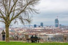 Dagsikt av centret i Lyon, Frankrike Arkivbilder