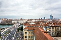Dagsikt av centret i Lyon, Frankrike Royaltyfria Foton