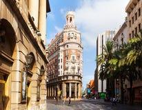 Dagsikt av Valencia Bank Building. Valencia Spanien Fotografering för Bildbyråer