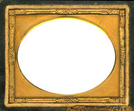 Daguerreotype frame with Clipping Path. Ornate gold metal picture frame from the 1850s. This type of frame was used to house early style photos such as stock photo