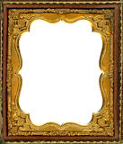 Daguerreotype frame with Clipping Path. Ornate gold metal picture frame from the 1850s. This type of frame was used to house early style photos such as stock photography