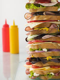 Dagwood Tower Sandwich With Sauces Royalty Free Stock Images