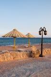 Dahab Beach. Beach umbrella and lantern in Dahab, Sinai - Egypt Royalty Free Stock Image
