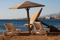 Dahab beach. Beach umbrellas in Dahab, Sinai - Egypt Stock Photo