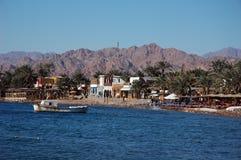 Dahab coastline. Spectacular panoramic view of Dahab`s waterfront. Egypt, Sinai peninsula Stock Photo