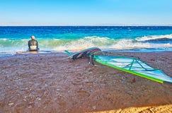Windsurfer on shore, Dahab, Sinai, Egypt stock photos