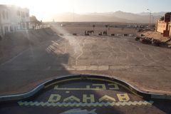 Dahab. market place and sunset with mountains.  royalty free stock images