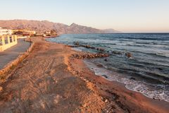 Dahab. restaurant and sun rise with mountains and sea in morning. Dahab. restaurant and sun rise with mountains and sea stock photos